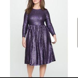 ISO Eloquii Purple Sequin Long Sleeve Dress 14